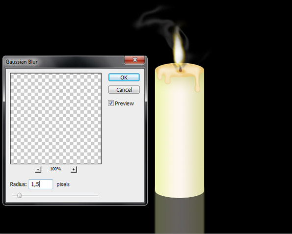 Drawing Candle with Fire and smoke in Photoshop