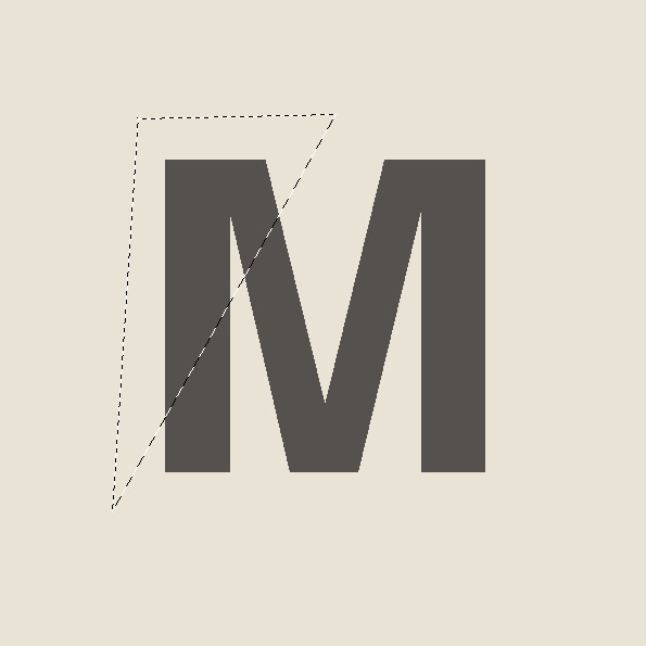 "We already have the letter ""M"" on a new layer now we are going to select the part that we want to fold it, I like to use the Polygonal Lasso Tool (L) and select part of the letter that I want to fold it"