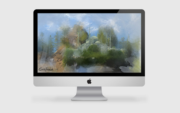 free download full layered photoshop file PSD iMac customizable editable
