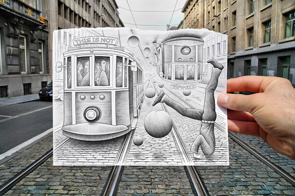 pencil vs camera for aoc illustration photography by ben heine