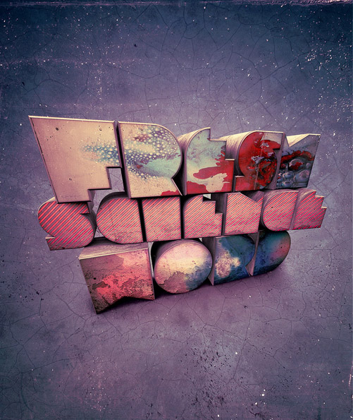 Fresh science word digital text art typography by Nik Ainley aka Shynibinary